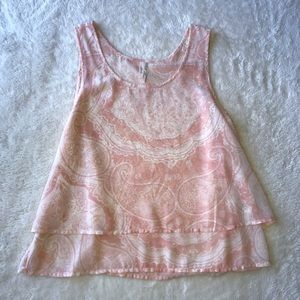 Frenchi Peachy Pink Paisley Tank Size Small